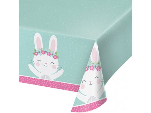 Pink Bunny Plastic Tablecover