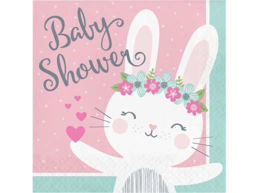 Pink Bunny Luncheon Napkins for Baby Shower (16pcs)