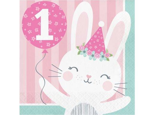 Ροζ Κουνελάκι Χαρτοπετσέτες Για Πρώτα Γενέθλια (16τμχ)