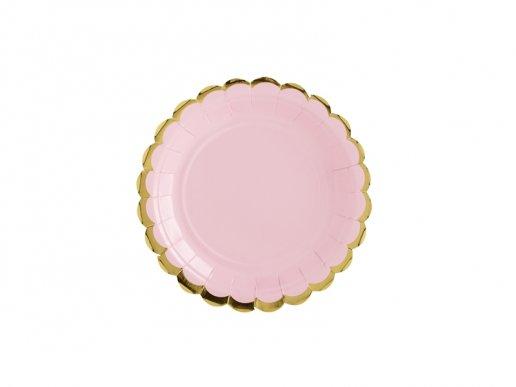 Ροζ Μικρά Πιάτα Χάρτινα Με Χρυσή Μπορντούρα (6τμχ)