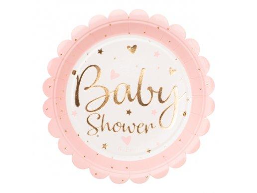 Ροζ Μικρά Χάρτινα Πιάτα Με Χρυσοτυπία Baby Shower (8τμχ)
