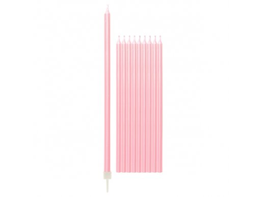 Pink Pearl Tall Cake Candles 10/pcs