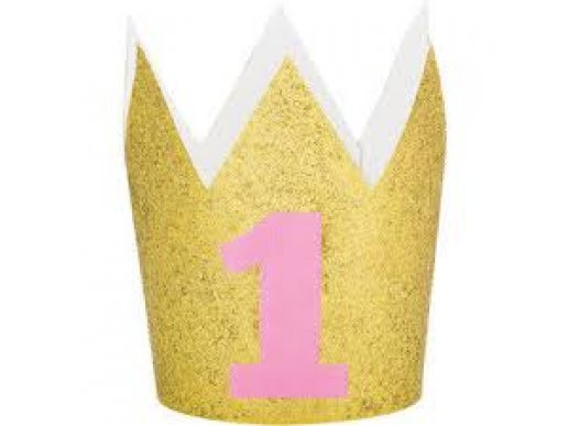 Gold Glitter Crown for Pink First Birthday