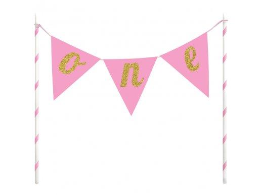 Ροζ Πρώτα Γενέθλια Αξεσουάρ Για Την Τούρτα
