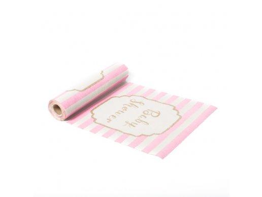 Ροζ & Χρυσό Baby Shower Λινό Runner Για Το Τραπέζι