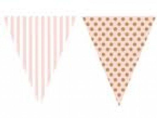 Ροζ & Χρυσό Γιρλάντα Σημαίες Για Γενέθλια