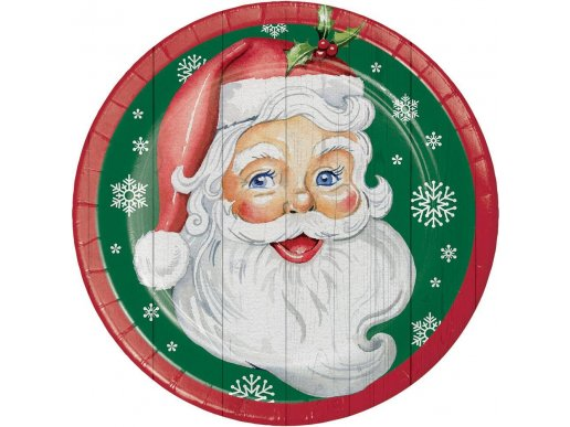 Rustic Άγιος Βασίλης Μεγάλα Χάρτινα Πιάτα 8/Τμχ