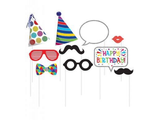 Photo Booth Props for Birthday with Glitter 10/pcs