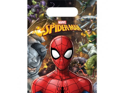 Spiderman Plastic Party Bags 6/pcs