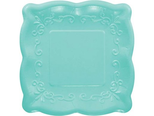 Elise Turquoise Embossed Design Small Paper Plates 8/pcs