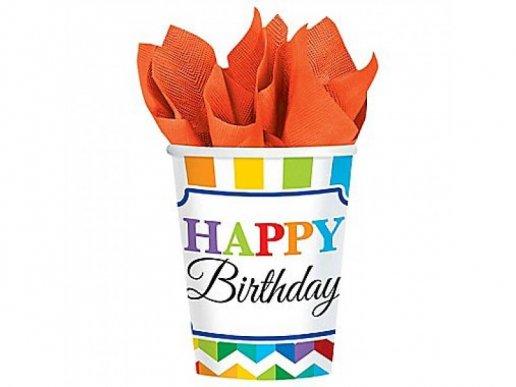 Χαρούμενα Γενέθλια Ποτήρια Χάρτινα (8τμχ)