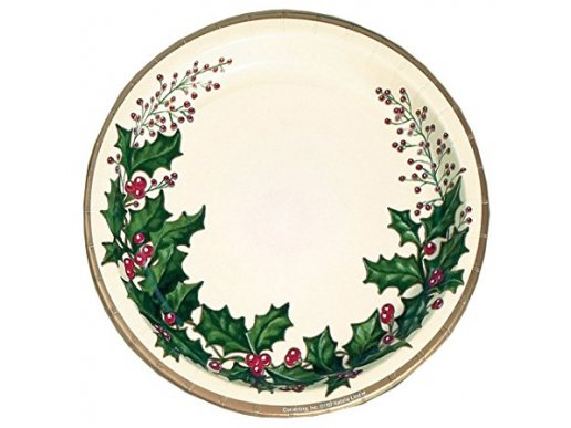 Winter Holly large paper plates 25/pcs
