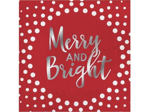 Κόκκινες Χαρτοπετσέτες Με Ασημοτυπία Merry And Bright 16/Τμχ