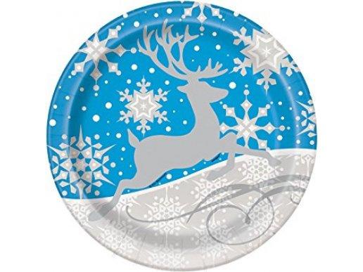 Silver Snowflakes large paper plates 8/pcs