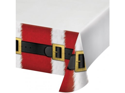 Santa Belt Plastic Tablecover (137cm x 259cm)