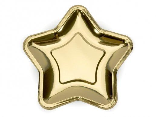 Χρυσά Μεταλλικά Αστέρια Μεγάλα Χάρτινα Πιάτα 6τμχ
