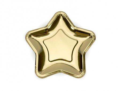 Metallic Gold Star shaped small paper plates 6/pcs