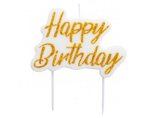 Gold Glitter Happy Birthday Cake Candle