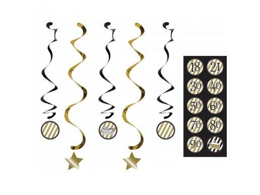 Black & Gold Hanging Swirl Decoration 5/pcs