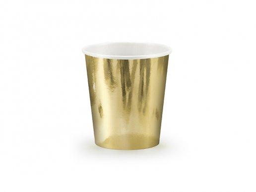 Χρυσό Μεταλλικό Ποτήρια Χάρτινα (6τμχ)