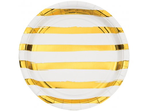 Gold foiled White large paper plates Abstract Lines 8/pcs