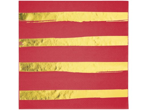 Gold Foiled Red luncheon napkins Abstract Lines 16/pcs