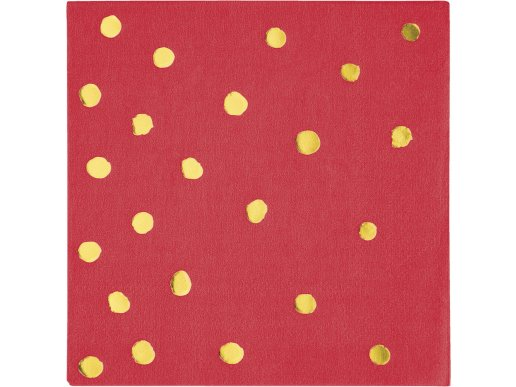 Χρυσοτυπία Κόκκινες Χαρτοπετσέτες Με Αφηρημένα Πουά (16τμχ)