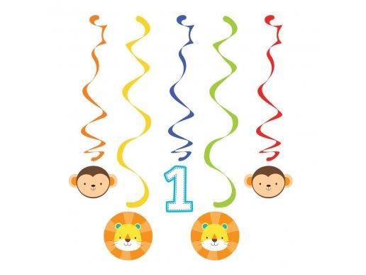Jungle Animals Firts Birthday Swirl Decoration (5pcs)