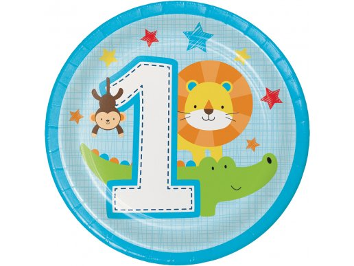 Jungle Animals Small Paper Plates for First Birthday (8pcs)