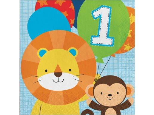 Ζωάκια Της Ζούγκλας Χαρτοπετσέτες Για Πρώτα Γενέθλια (16τμχ)