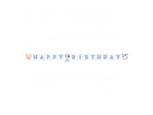 Farm Animals Blue First Birthday Happy Birthday Garland (2,4m)