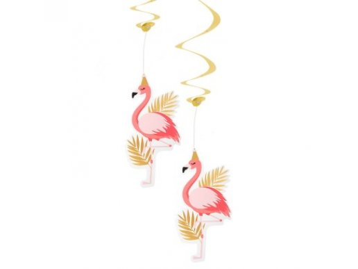 Flamingo with Gold Foiled Details Swirl Decorations (2pcs)