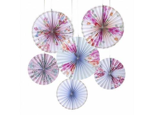 Floral Pastel Decorative Paper Fans For Party Decoration (6pcs)
