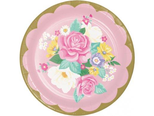 Floral Tea Party Large Paper Plates (8pcs)