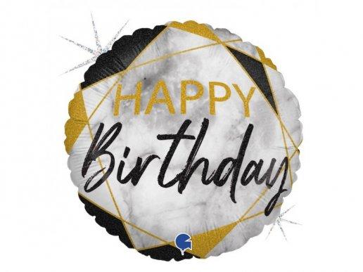 Foil Μπαλόνι για Γενέθλια Μαρμάρινο Σχέδιο με Μαύρο (46εκ)