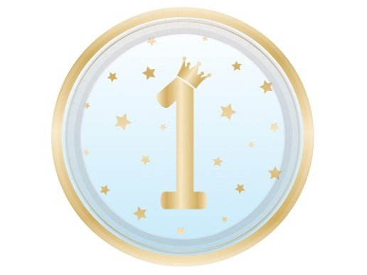 Pale Blue Large Paper Plates for First Birthday with Stars (8pcs)