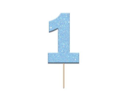 Light Blue Glitter Decorative Picks with Number 1 (12pcs)