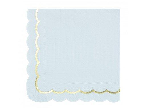 Γαλάζιες Χαρτοπετσέτες με Περίγραμμα Χρυσοτυπίας (16τμχ)