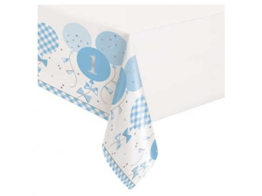 Blue Gingham Plastic Tablecover for First Birthday (137 x 213)