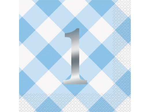 Blue Gingham Luncheon Napkins for First Birthday (16pcs)
