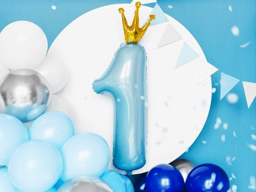 Pale Blue Supershape Balloon Number 1 with Gold Crown (90cm)