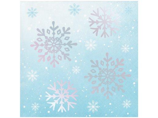 Ice Blue Beverage Napkins With Iridescent Snowflakes (24pcs)