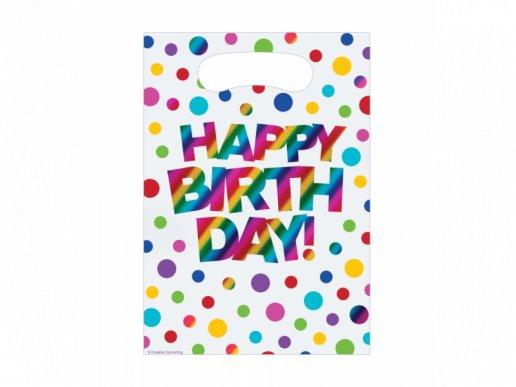 Γενέθλια με Ουράνιο Τόξο Πλαστικές Σακούλες για Δωράκια 8τμχ