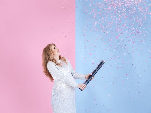Gender Reveal Party Cannon with Pink Confettis (60cm)