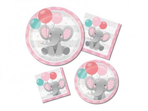 Girl Elephant Small Paper Plates (8pcs)
