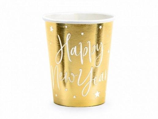 Happy New Year Χρυσά Ποτήρια Χάρτινα 6τμχ