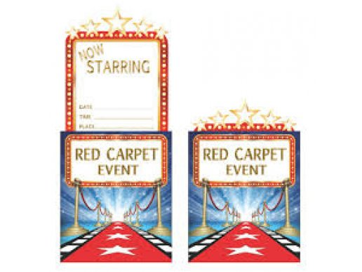 Party Invitations Hollywood Lights 8pcs