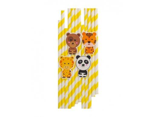 Yellow Paper Straws Smiling Animals (10pcs)