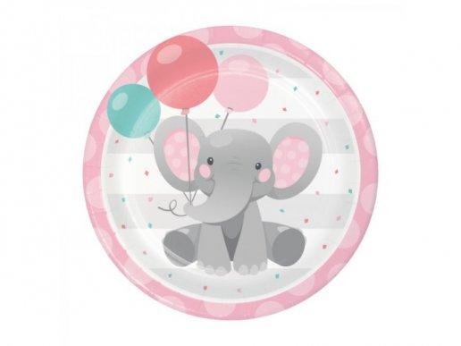 Girl Elephant Large Paper Plates (8pcs)