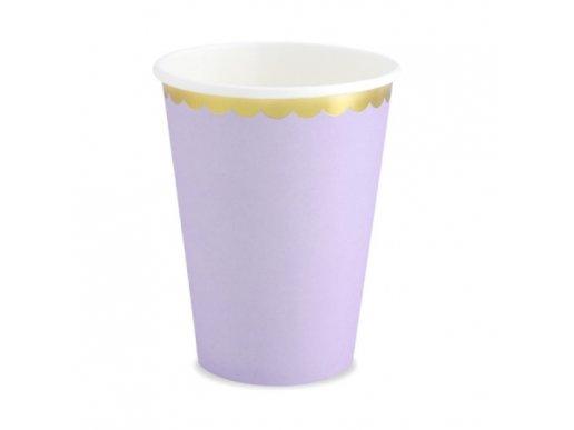 Ποτήρια Χάρτινα σε Λιλά Χρώμα με Χρυσοτυπία (6τμχ)